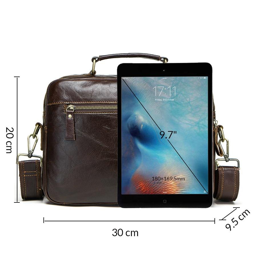 CONTACT'S new oil cow leather men's messenger bag male satchel bag men crossbody bags masculina bolso big casual shoulder bags 3