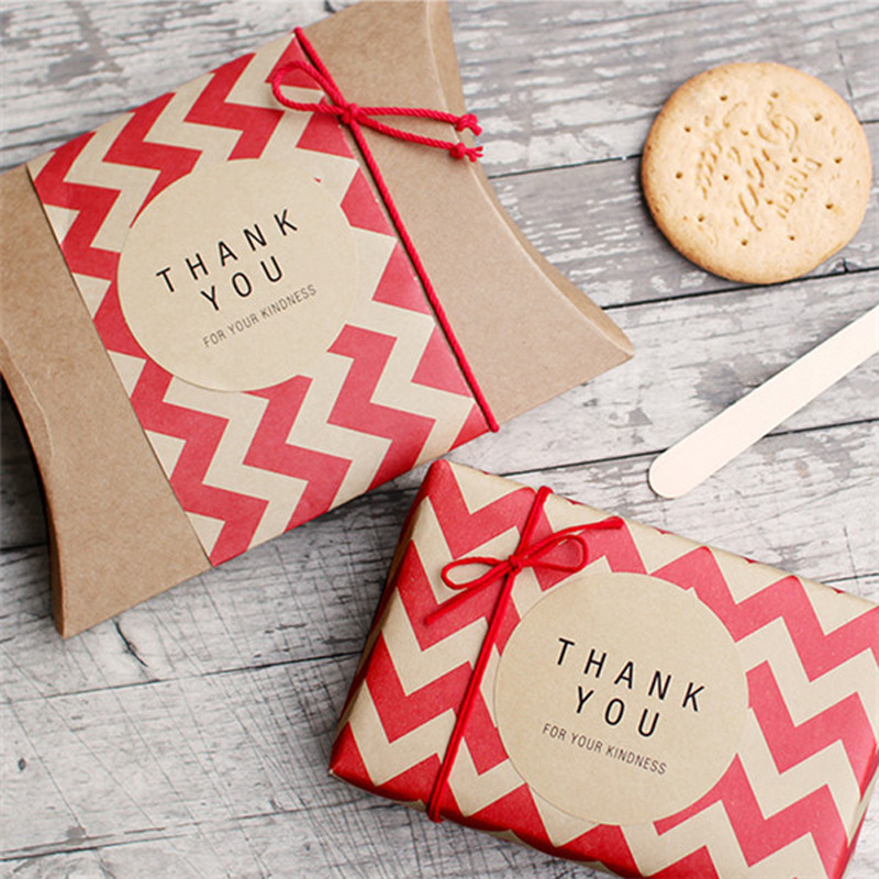 80pcs Kraft Paper Thank You Adhesive Stickers Label Baking Package Cake Box Deco