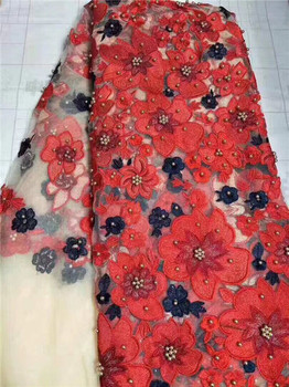 High Quality French Lace Fabric Latest 3D flower Embroidery Net Lace Fabrics with red, white Beaded for party dress