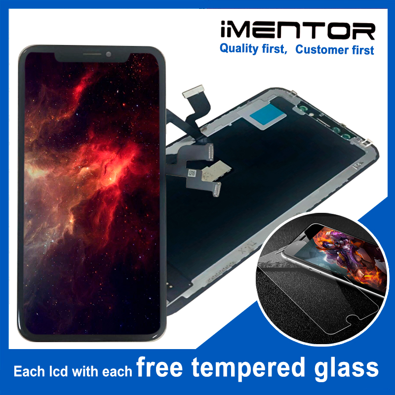 2pcs AAA OLED replacment for iphone X OLED display touch screen assembly free tempered glass 2pcs