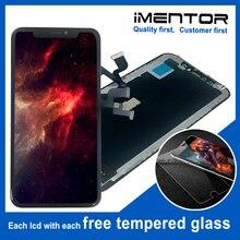 Reemplazo de pantalla OLED para iphone X montaje de pantalla táctil, cristal templado gratis, 2 uds.