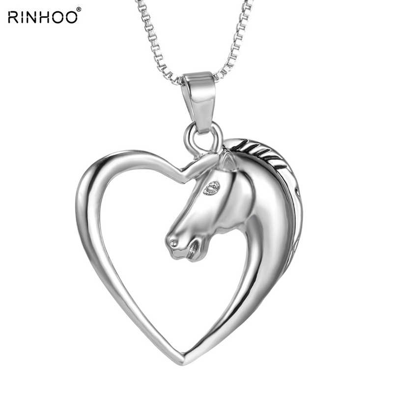 Fashion New jewelry plated white K Horse in Heart Necklace Pendant Necklace for women girl mom gifts Unicorn