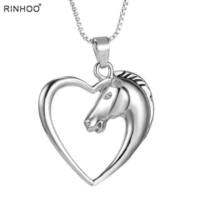Fashion New jewelry plated white K Horse in Heart Necklace Pendant Necklace for