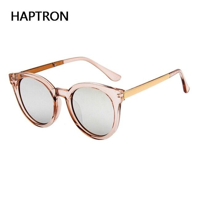 3f918dc3e7aec De moda transparente gafas mujer rosa gafas de sol ronda Rosa oro marco de  plata de