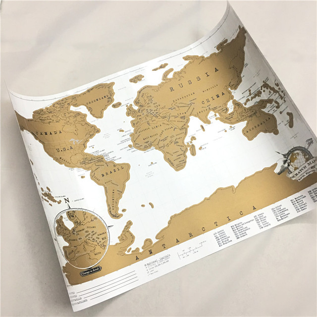 1 pcs new arrival deluxe scratch map personalized world scratch map 1 pcs new arrival deluxe scratch map personalized world scratch map mini scratch yellow world map gumiabroncs Choice Image