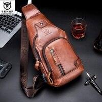 AUAU BULLCAPTAIN Genuine Leather Crossbody Bags Men Shoulder Men Chest Bags Fashion Travel Handbags Man Messenger Bag Male