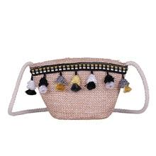 2019 Summer Womens Bohemian Beach Bag Woven Handbag Shoulder Beach Bag Casual Tote Straw Wicker Wild small bucket bag