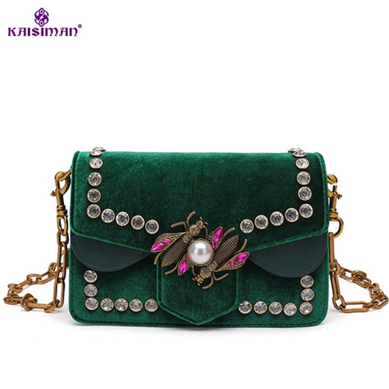 Luxury Brand Women Messenger Bags Little Bee Handbags Crossbody Bag Lady Diamond Rivet Shoulder Famous Designer Clutch Purse Sac 2017 luxury handbags black women bags designer women s bag rivet chain messenger shoulder bags female skull clutch famous brand