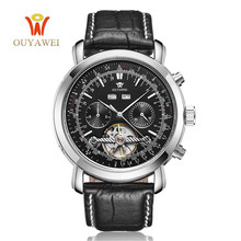 OUYAWEI mechanical automatic watch men Tourbillon Clock army wrist for 22mm Black leather skeleton business