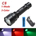 1mode C8 White/Green/Red powerful T6 led flashlight outdoor camping Riding Night Hiking waterproof torch+18650 battery+charger