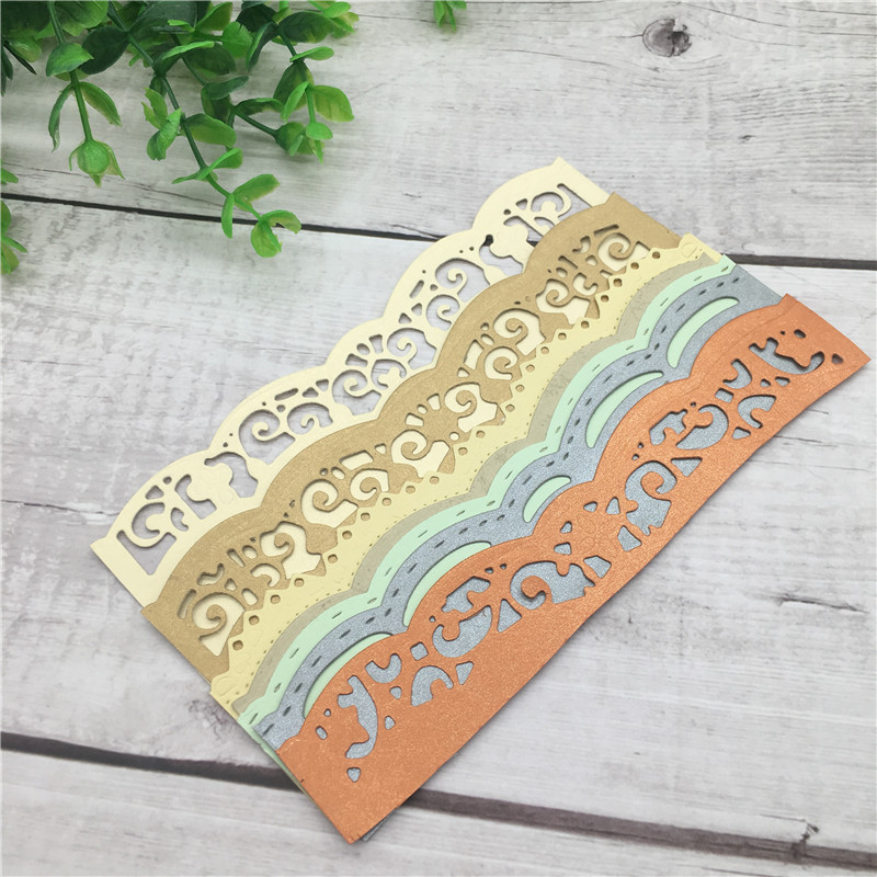 DIY Cards silver Lace Embrossing Curved Wavy Border Metal Cutting Dies Scrapbooking Embossing Paper Card 15 2 10 4cm in Cutting Dies from Home Garden