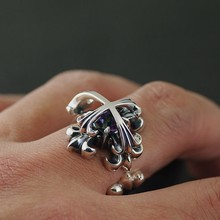 Thai silver 925 sterling silver Zircon cross double deck gothic wind opening and the ring