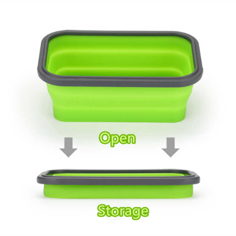 Silicone Collapsible Bento Lunch Box Silicone Food Box Food Storage Containers Keeping fresh Microwave Dishwasher Safe