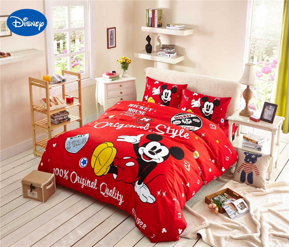 Cartoon Disney Printing Bedding Set 100% Cotton Red Color Mickey ...