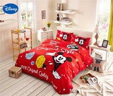 cartoon disney printing bedding set 100 cotton red color mickey mouse comforter bed sheet duvet