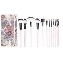 12Pcs Makeup Brush Set Synthetic Professional Makeup Brushes Foundation Powder Blush Eyeliner Brushes With Flower Pattern Case