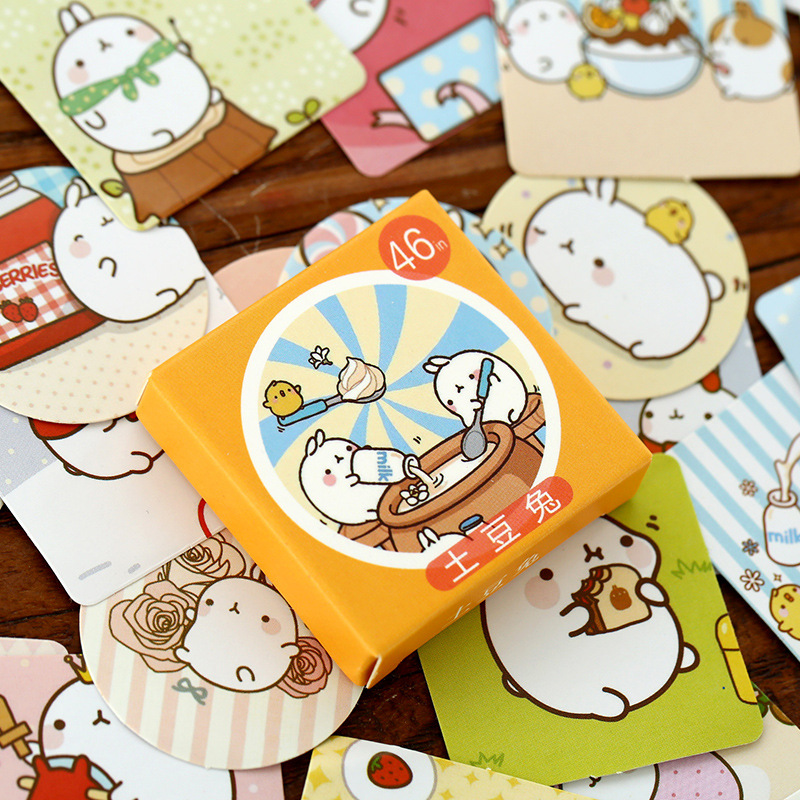 46Pcs/Pack Cute Cartoon Molang Rabbit Label Stickers Decorative Diary Stickers Scrapbooking DIY Album Stationery Stickers spring and fall leaves shape pvc environmental stickers decorative diy scrapbooking keyboard personal diary stationery stickers