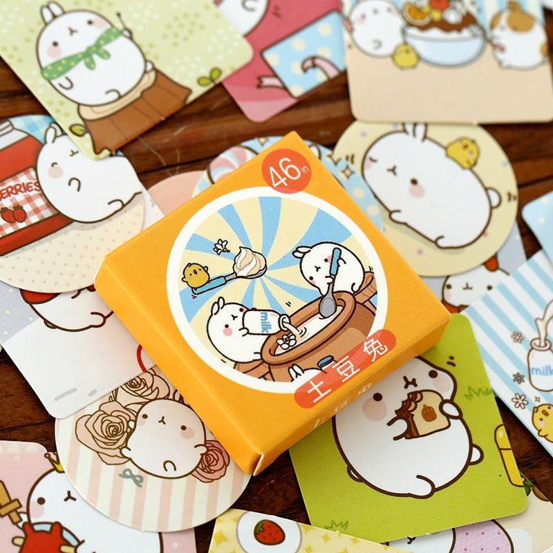 46Pcs/Pack Cute Cartoon Fat Rabbit Label Stickers Decorative Diary Stickers Scrapbooking DIY Album Stationery Stickers