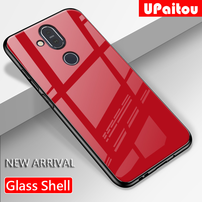 UPaitou Luxury Tempered Glass Case for <font><b>Nokia</b></font> 8.1 X7 X6 <font><b>6.1</b></font> 7 Plus TPU Bumper Shockproof Case for <font><b>Nokia</b></font> x7 Back cover image