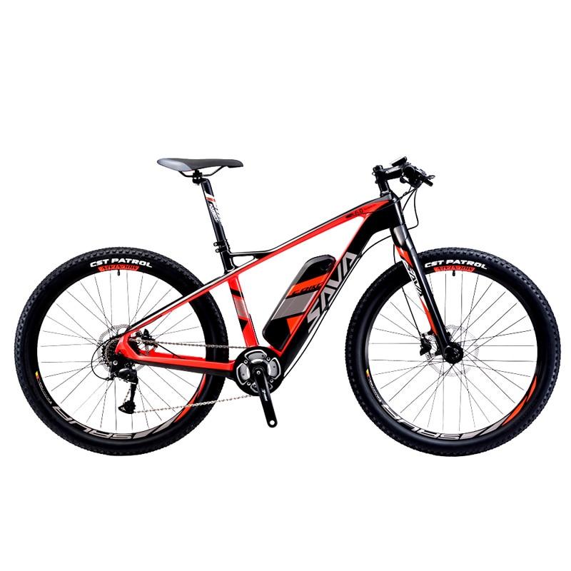 SAVA Carbon Fiber e-bike 27.5 inch Electric Mountain Bike MTB Pedelec Bicycle w/ Shimano 9 Speed 36V/14Ah SAMSUNG Li-ion Battery