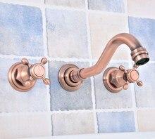 цена на Antique Copper 3 Pcs Bathroom Basin Faucet 8 Widespread Bathroom Vanity Sink Faucet Wall Mount Tub Sink Mixer Tap