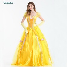 Princess Belle Party Dress up Costume Carnival Xmas Birthday Ball Gown Adult Yellow S-XXL Vestidos