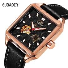 OUBAOER الفاخرة أزياء العلامة التجارية عارضة الرجال الساعات توربيون التلقائي الميكانيكية ووتش الأعمال ساعة جلدية حزام 2019 جديد بيع