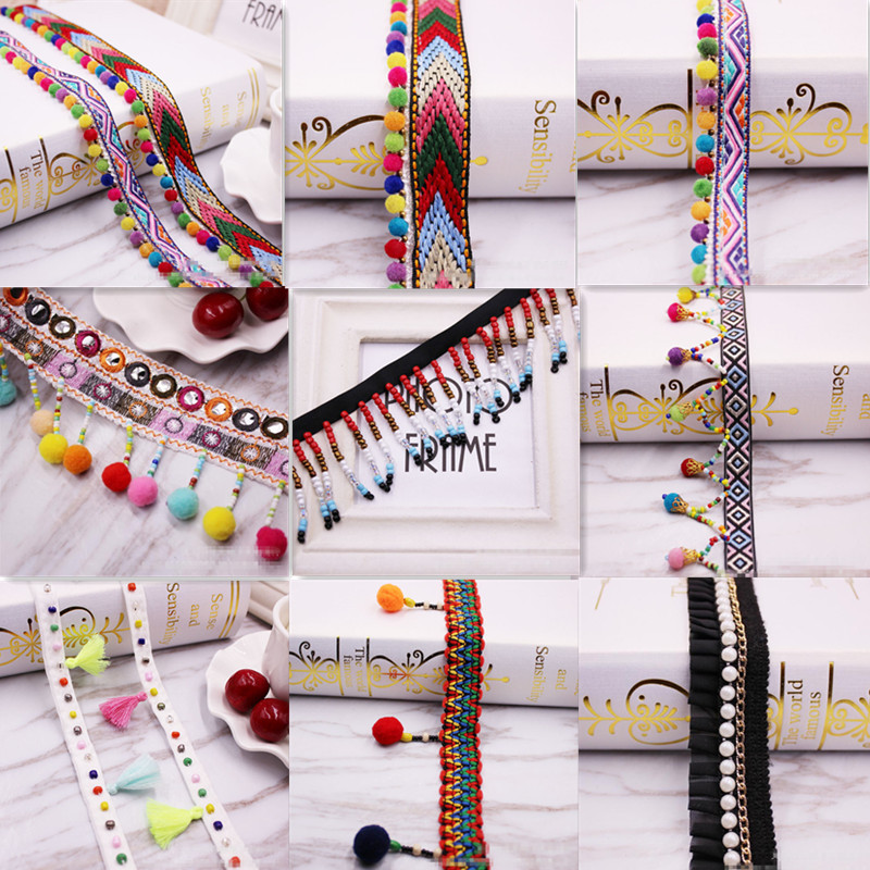 1Yard  Bohemian Lace Trim Ethnic Embroidery Lace Ribbon Colorful Round Ball Tassel Pompom Beads Pendant Collars Accessories