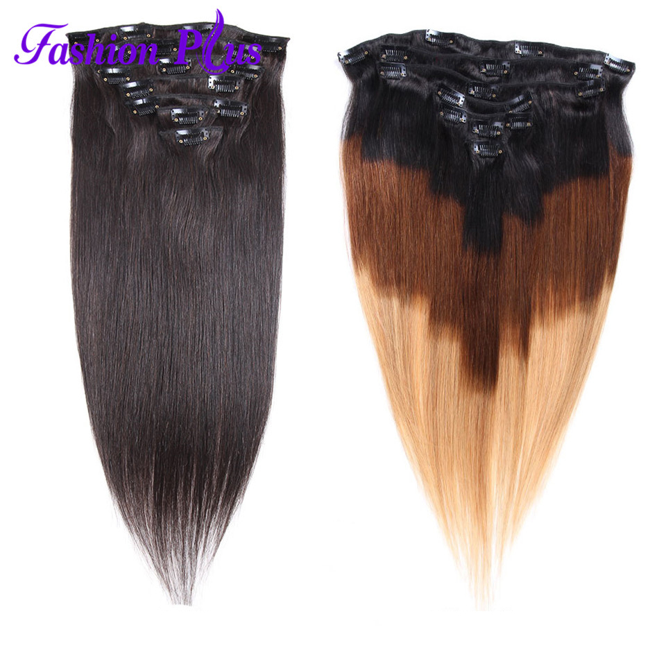 Fashion Plus Clip In Human Hair Extensions Full Head  7Pcs Set 120G Clip Hair Extension Natural Hair Machine Made Remy Hair