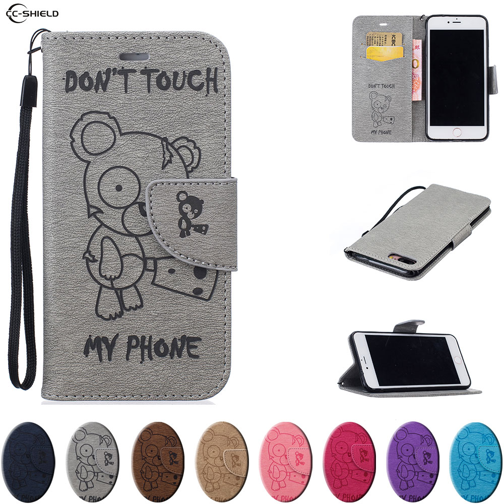 Flip Case For Apple Iphone 7 PLUS Iphone7 PLUS Mobile Phone Leather Cover For Apple Iphone7PLUS Cases Silicon Wallet Bag Black