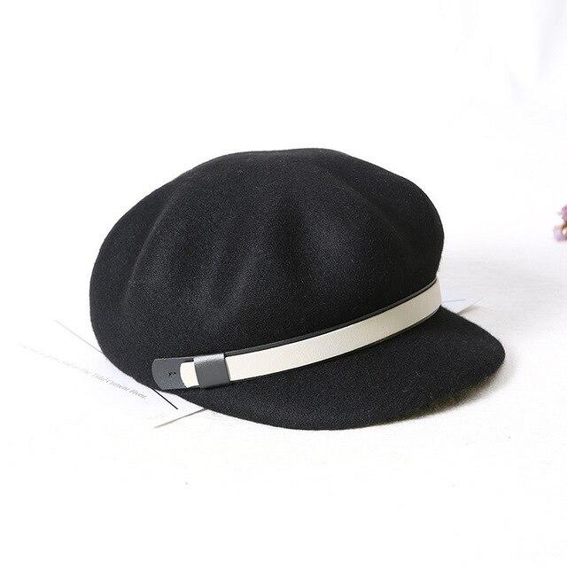 19194d74 100% Australian Wool Russian Popular Women Military Cap Flat Top Army Navy  Caps Fashion Black Color Visors Student Newspaper Cap