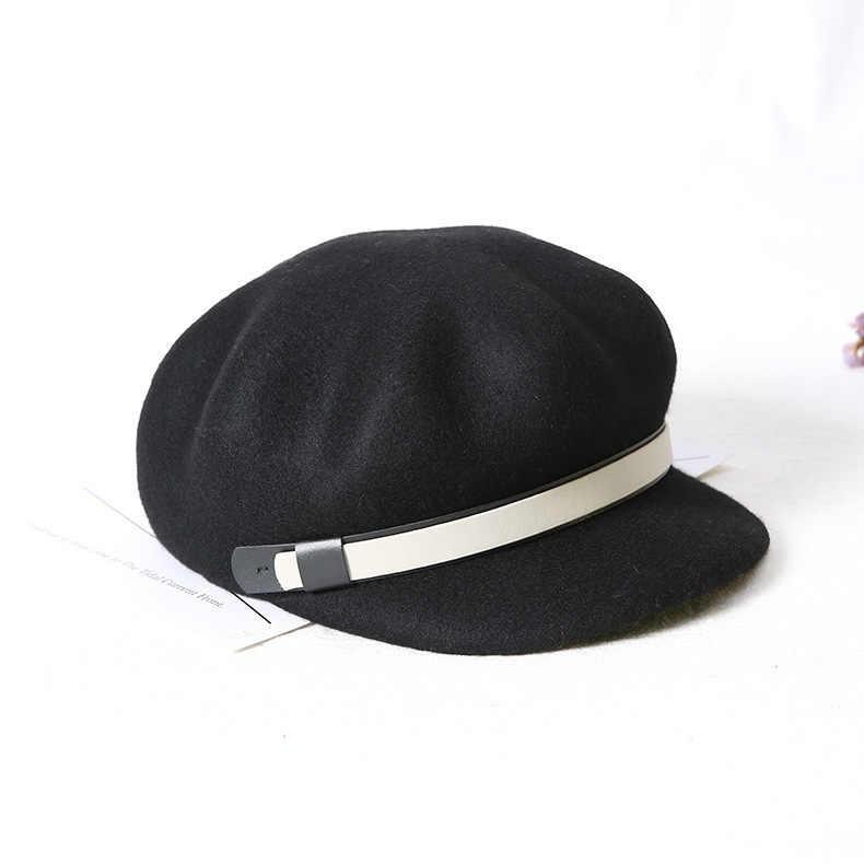 100% Australian Wool Russian Popular Women Military Cap Flat Top Army Navy Caps Fashion Black Color Visors Student Newspaper Cap