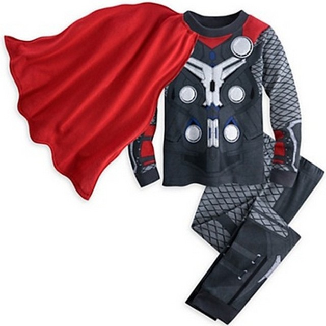 The Avengers Iron Man Children Pajamas Captain America Sleepwear Boys Super Cool Spring Autumn Long Sleeve Pyjamas DS16