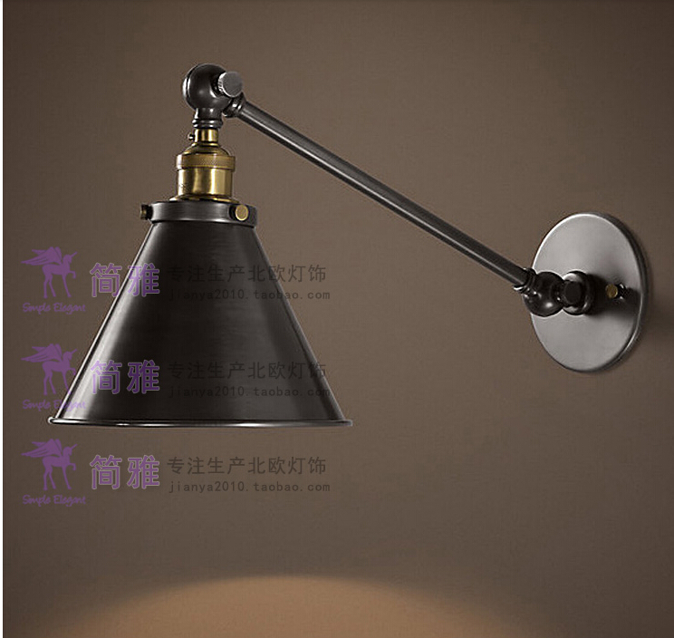 Vintage Industrial Loft Swing Arm Wall Sconce Retro Warehouse Ambient  Lighting Black Lampshade Wall lamp With