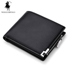 Luxury Brand WILLIAMPOLO 2017 Genuine Leather Purse Coin Wallet Coin Holder Casual Coin Pouch Card Holder Black POLO156