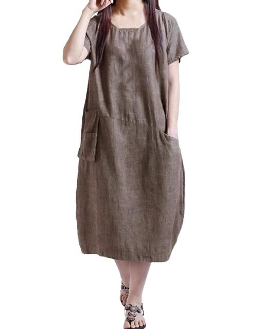 4XL 5XL Plus Size Dress Women Casual Loose Oversized Dress Solid Color Short Sleeve Pocket Summer Vintage Mid-calf Dress 2019