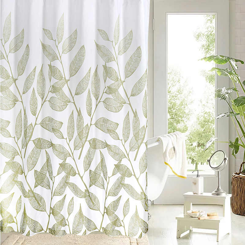 الأخضر أوراق النبات طباعة دش الستائر بسيطة أنيقة ستارة للحمام جودة عالية للماء البوليستر النسيج ستارة حمام