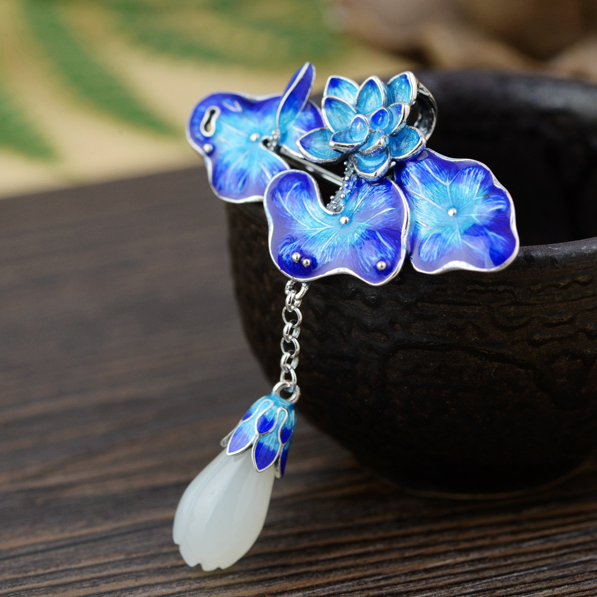 Thai Silver Lotus Brooch Pendant Tassel Flower Enamel Silver Brooches Flowers Natural Stone Chinese Style Pins Jewelry SBH0006