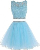 2 Piece Prom Dress Short Tulle Applique Lace Beaded Backless Ball Gown Prom Two Pieces Gown Vestido Curto 2019