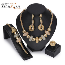 MUKUN 2018 Bridal Dubai Gold Colorful Jewelry Set big Nigerian Wedding woman jewelry set African Beads Jewelry Set wholesale цена в Москве и Питере
