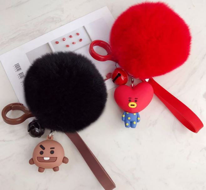 1 Pc Lovely Kpop Bts Bt21 Cartoon Fur Ball Keychain Plush Keychain Bag Pendant Accessories Keyring For Girls Plush Toy #2