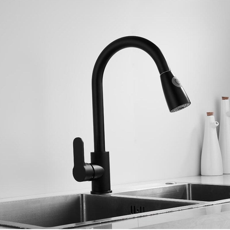 Kitchen Faucets Single Handle Black Pull Out Kitchen Faucet Single Hole Handle Swivel 360 Degree Sink Mixer Tap Mixer Tap
