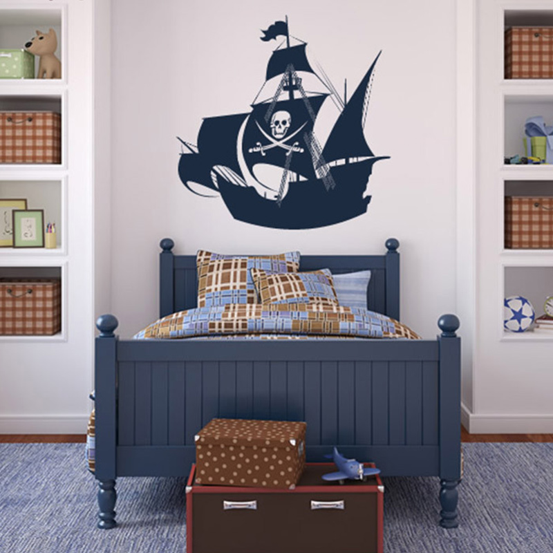 2017 New Pirate Ship Wall Sticker For Kids Room Wall