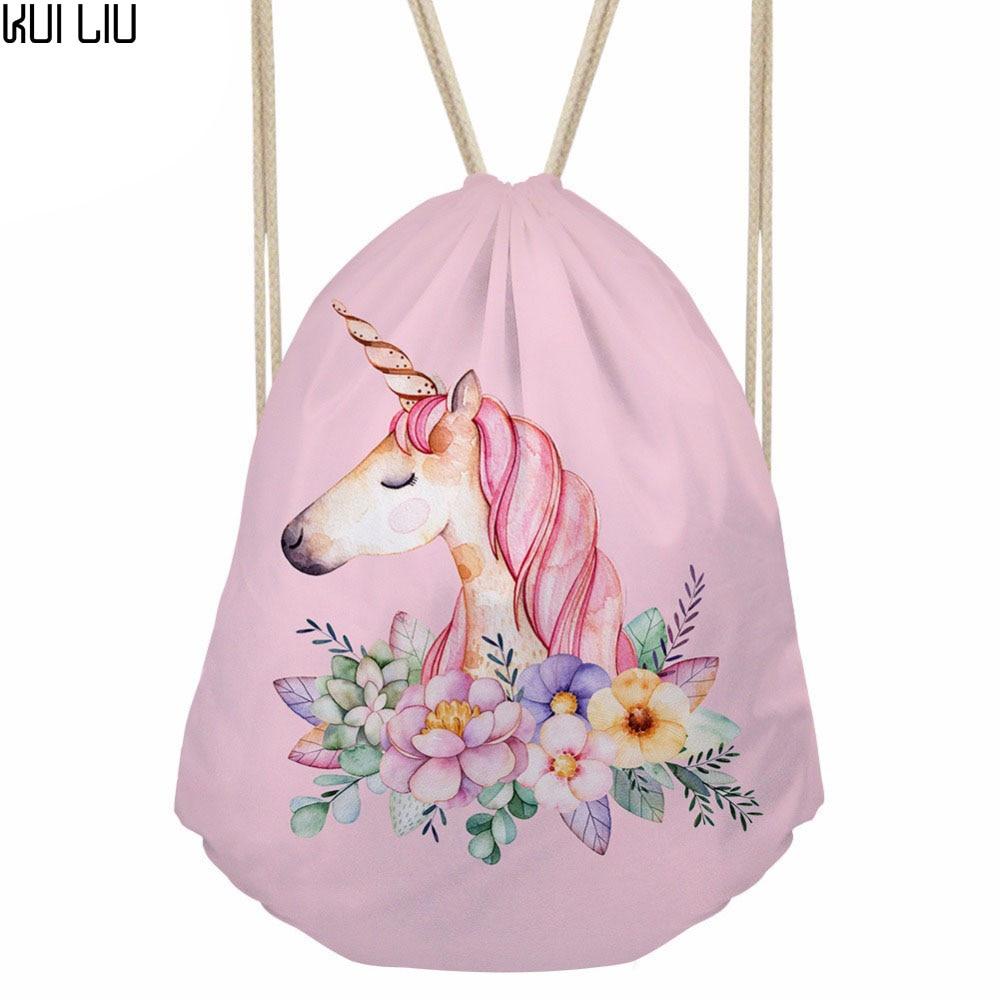 Customized Drawstring Bag Small Women's Backpack For Cartoon Unicorn Printing Girls Cute Daypack Kids Satchel Softback Mochilas