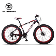 EUROBIKE Mens Fat Tire Bike Shimano 27 Speed 26 Inches 4.0 Snow Bicycle