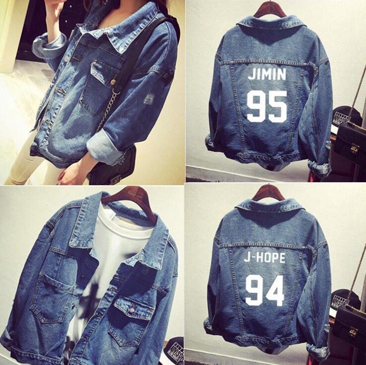kpop Bts bangtan boys Jimin jhope jungkook women bomber winter <font><b>Denim</b></font> bts baseball jacket college jacket bts