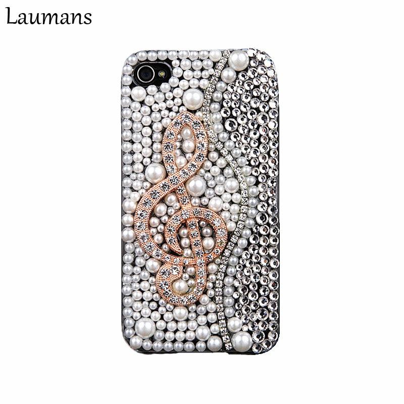 Laumans Luxury Full Pearl Rhinestone case For iphone X 6 6s 7 8 plus 5s DIY 3D Piano Keys Musical Bling diamond Phone back Cover