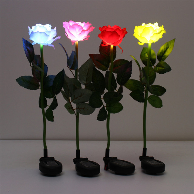 Smuxi Solar Rose Flower Led Light Waterproof Garden Stake Landscape Lamp Outdoor Yard Control