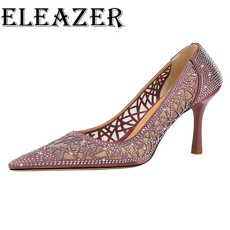 New Style Fashion Crystal Bling High heels Ladies Pumps Pinted toe woman Shoes Women Thine Heels Party Sandals