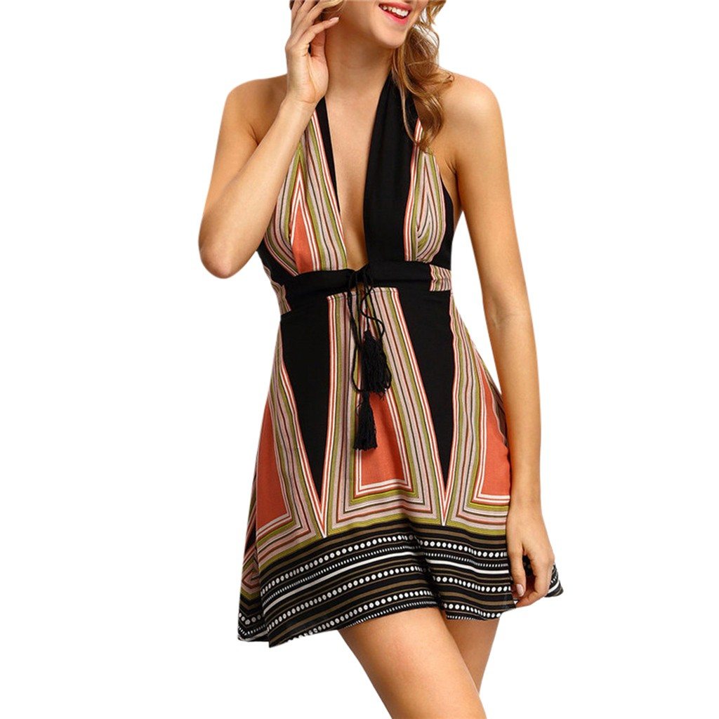 HTB1C1IwXW5s3KVjSZFNq6AD3FXa7 Halter Sleeveless Sexy Halter Wrapped Chest Straps Mini Dress Summer Nightclub Evening Party Striped Slim Ladies Dress Plus Size